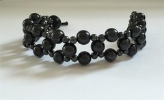 "Beautiful 7.5"" Hand Made Black Round Imitation Pearl Bracelet With Beaded Toggle Bar Clasp Assembly"
