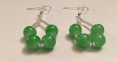 Two Imitation Jade Fashion Drop Earrings Accented With Silver Crystal Glass Seed Beads W/ Fish Hook Ear Wire Hooks & Ear Backs