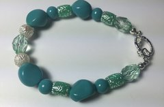 Asymmetrical Blue-Green Beaded Bracelet: 8 1/2 Inches Including Toggle Clasp