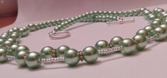 Double Strand Mint Green Imitation Pearl Beaded Necklace With Rope Style Toggle Clasp