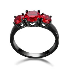 10kt Black Gold Filled Bright Red Cubic Zirconia Ring Size 5.5