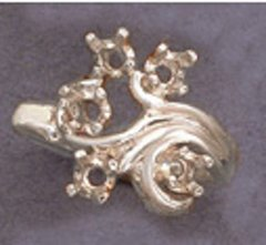 (5) 3mm Round Sterling Silver Fleur Style Pre-Notched Mother's Ring Setting Size 6-8