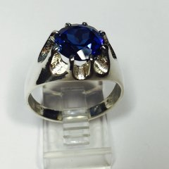 Sterling Silver Mens Genuine 10mm Round Lab Blue Sapphire Heavy Gypsy Style Ring Size 7-14