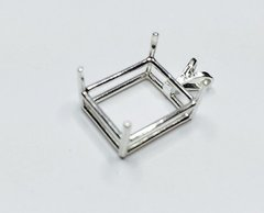 14kt Gold or Sterling Silver Octagon Pendant Setting (5x3-30x22mm)