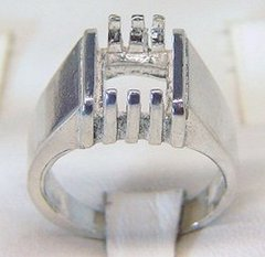 10x8 or 12x10mm Sterling Silver Octagon Men's Pre-Notched Inset Style Ring Setting Size 7-14