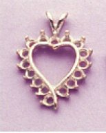 14kt Gold or Sterling Silver Asymmetrical Cluster Heart Pendant Setting