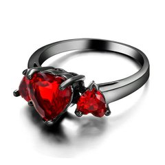 10kt Black Gold Filled Bright Red Cubic Zirconia Heart Ring Size 7.5