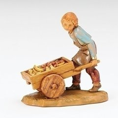 5 inch Scale Fontanini Hugo the Villager Pushing Cart 54089