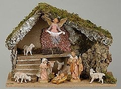 5 Inch Fontanini 9 pc Italian Nativity Stable Scene 54494