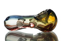 """GP07 - 3"""" Glass Pipe With Dichro Stipe and Color Twisted Cane"""