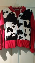 Faux cow print red knit jacket