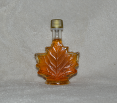 "250 ML (8.5 Oz) ea. glass Maple Leaf Bottle, Pure Vermont ""Organic"" Maple Syrup, set of (2)"