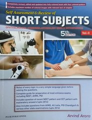 Short Subjects 5th Edition 2017 Volume II (Ophtha, ent, orhto) By Arvind Arora