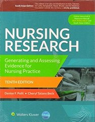 Nursing Research-Generating and Assessing Evidence for Nursing Practice, 10/e by Polit