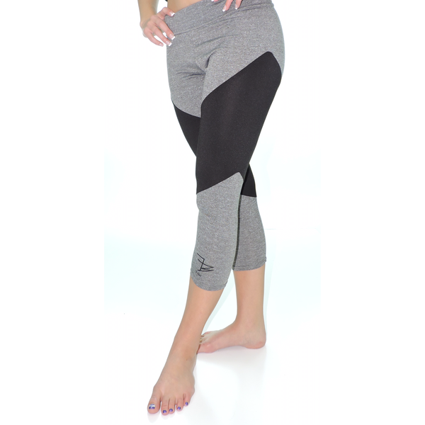 Fit Babz Two Tone Grey and Black capri logo legging. | Women's ...