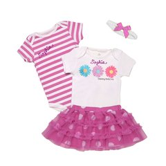 Girls Tu Tu Cute Onesies + Headband 4 Pieces Outfit
