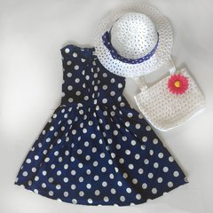 Polka Dot Dress Spring Summer Girls with Hat and Bag