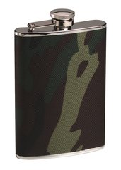 Flask, Stainless Steel, 8 Oz., Woodland Camouflage