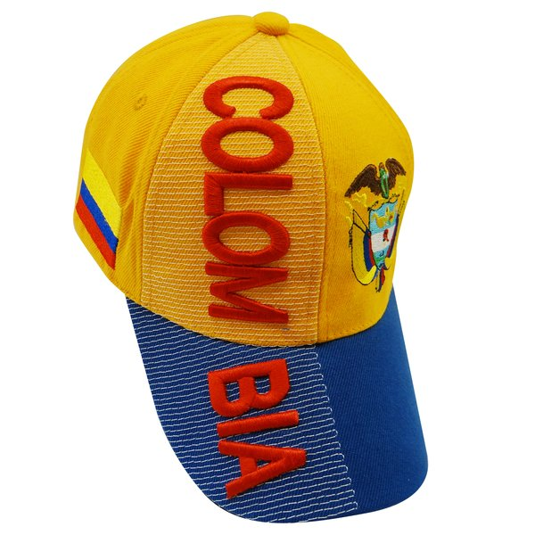 COLOMBIA YELLOW BLUE COUNTRY FLAG , EMBOSSED HAT CAP .. NEW