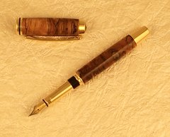 Gentleman Jr. Fountain Pen, 10k Gold, Spalted Maple