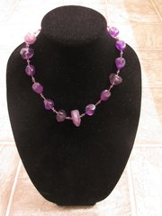 Purple Stone Necklace with Matching Earrings