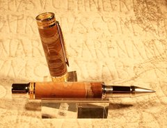 Emperor Rollerball Pen, Rhodium/22k Gold, Ambrosia Maple Cross-cut