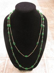 Layered Emerald Bead Necklace with Matching Earrings