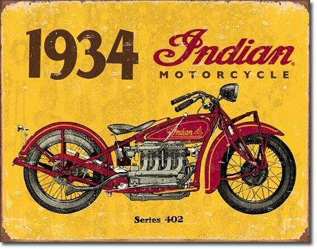 1934 Indian Motorcycles Metal Sign
