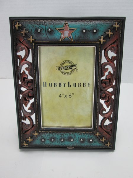 hobby lobby picture frame western themed aged copper turquiose moxee 2nd hand market. Black Bedroom Furniture Sets. Home Design Ideas