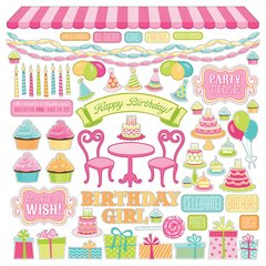 Photoplay Party Girl 12 x 12 Element Sticker Sheet Birthday