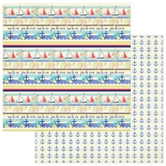 Julie Nutting Nautical Bliss 12 x 12 Double Sided Cardstock Stripes