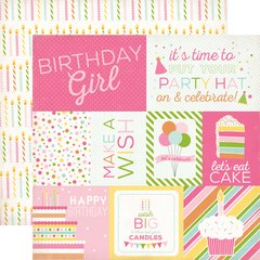 Echo Park Birthday Wishes Girl Journaling 12 x 12 Cardstock