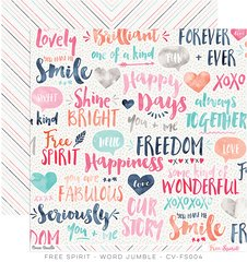 Cocoa Vanilla Free Spirit 12 x 12 Double Sided Paper Word Jumble
