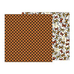 Pebbles Midnight Haunting Halloween 12 x 12 Double Sided Cardstock Pumpkin Plaid