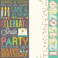 Simple Stories Let's Party 12 x 12 Double Sided Cardstock 5313 Elements 2 x 12, 4 x12, 6 x12
