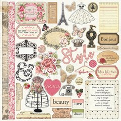 Photoplay Julie Nutting Belle Vie 12 x 12 Element Sticker Sheet