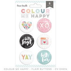 Cocoa Vanilla Colour Me Happy Flair Buttons