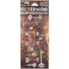 7 Gypsies Architextures Findings Adhesive Embellishments Vintage Keys