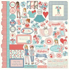 Photoplay Julie Nutting Paper Dolls 12 x 12 Element Sticker Sheet