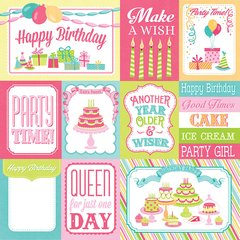 Photoplay Party Girl 12 x 12 Double Sided Cardstock 3 x 4 / 4x6 Cards Birthday