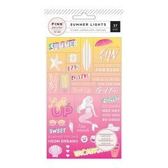 Pink Paislee Summer Lights Collection Cardstock Stickers with Foil Accents Word Jumble