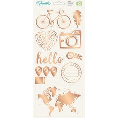 American Crafts Shimelle Go Now Go Collection Cardstock Stickers with Foil Accents - Accents and Phrases