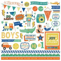 PhotoPlay Boys Rule 12 x 12 Element Stickers