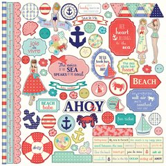 Julie Nutting Nautical Bliss 12 x 12 Element Sticker Sheet