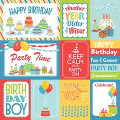 Photoplay Party Boy 12 x 12 Double Sided Card Stock Party Boy 3 x4/4x6 cards