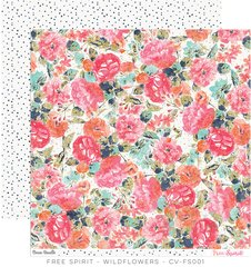 Cocoa Vanilla Free Spirit 12 x 12 Double Sided Paper Wildflowers