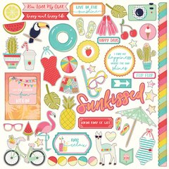 For the Love of Summer 12 x 12 Cardstock Stickers - Elements