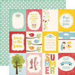 Echo Park Happy Summer 12 x 12 Double Sided Cardstock 3 x 4 Journaling Cards