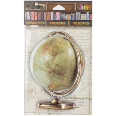7 Gypsies Architextures Treasures Adhesive Embellishments-Vintage Globe