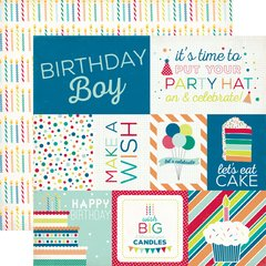 Echo Park Birthday Wishes Boy Journaling Cards 12 x 12 Cardstock